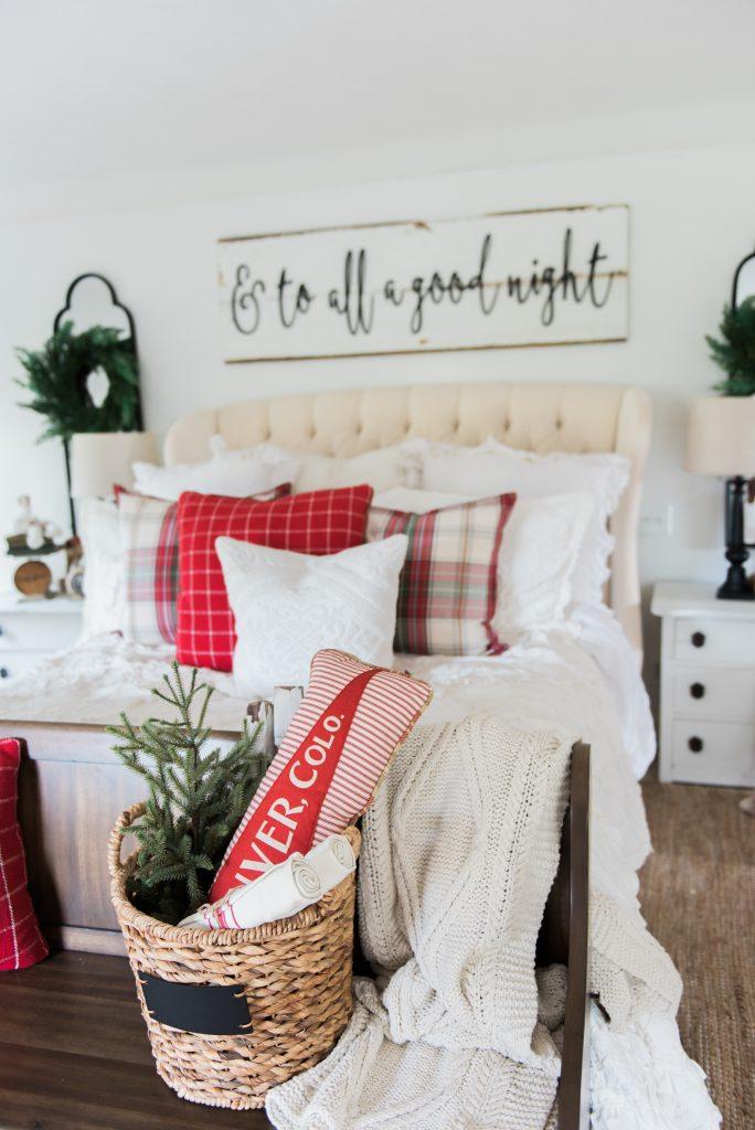 Christmas Bedroom Decor Ideas - Cozy Cheerful Farmhouse Christmas Bedroom by Liz Marie