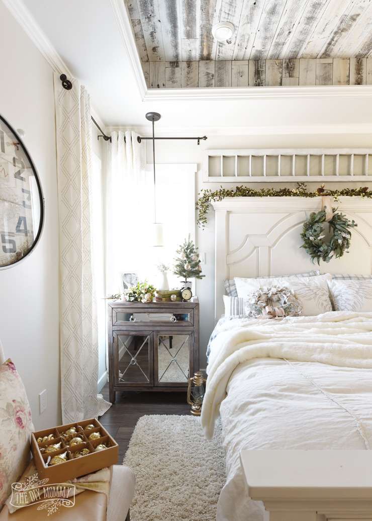 Christmas Bedroom Decor Ideas - French Country Farmhouse Bedroom by DIY Mommy