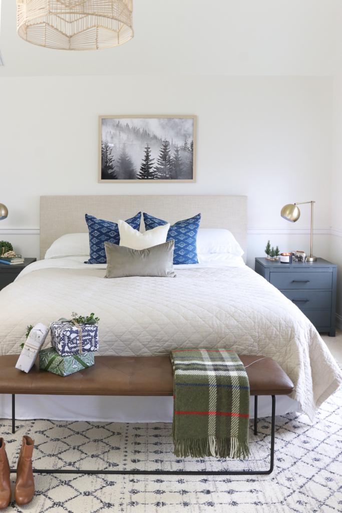 Christmas Bedroom Decor Ideas - Navy & Green Holiday Bedroom by City Farmhouse