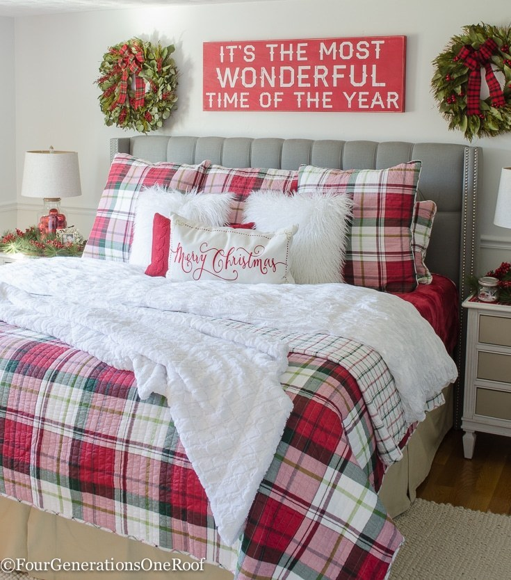 Christmas Bedroom Decor Ideas - Plaid Christmas Bedroom by Four Generations One Roof