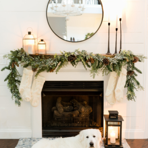 Christmas Mantel Decor Ideas - Black and White Living Room by Home Stories A to Z