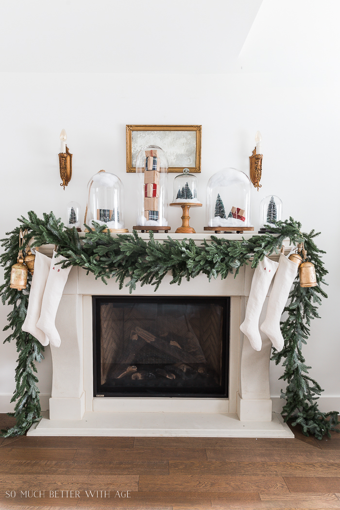 Christmas Mantel Decor Ideas - Christmas Mantel Snow Globe Cloche by So Much Better With Age
