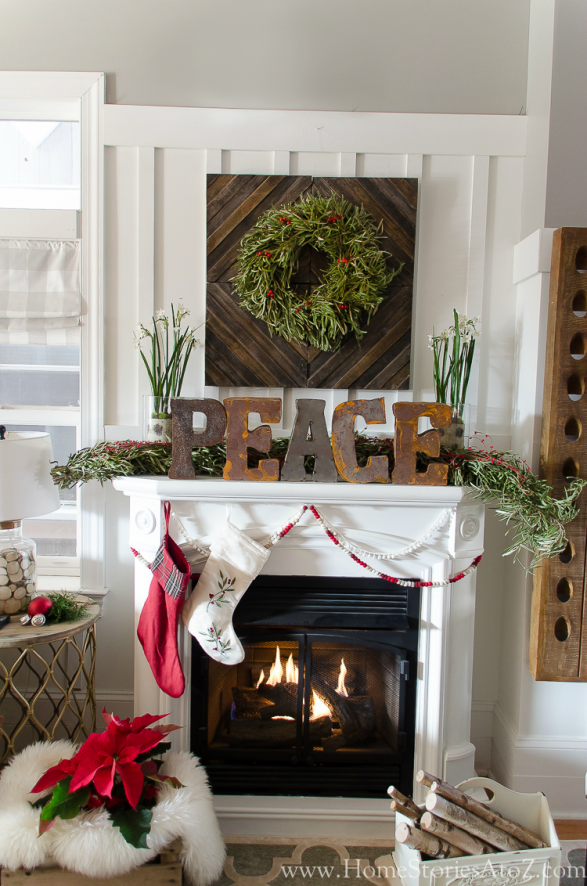 Christmas Mantel Decor Ideas - Christmas Mantel by Home Stories A to Z