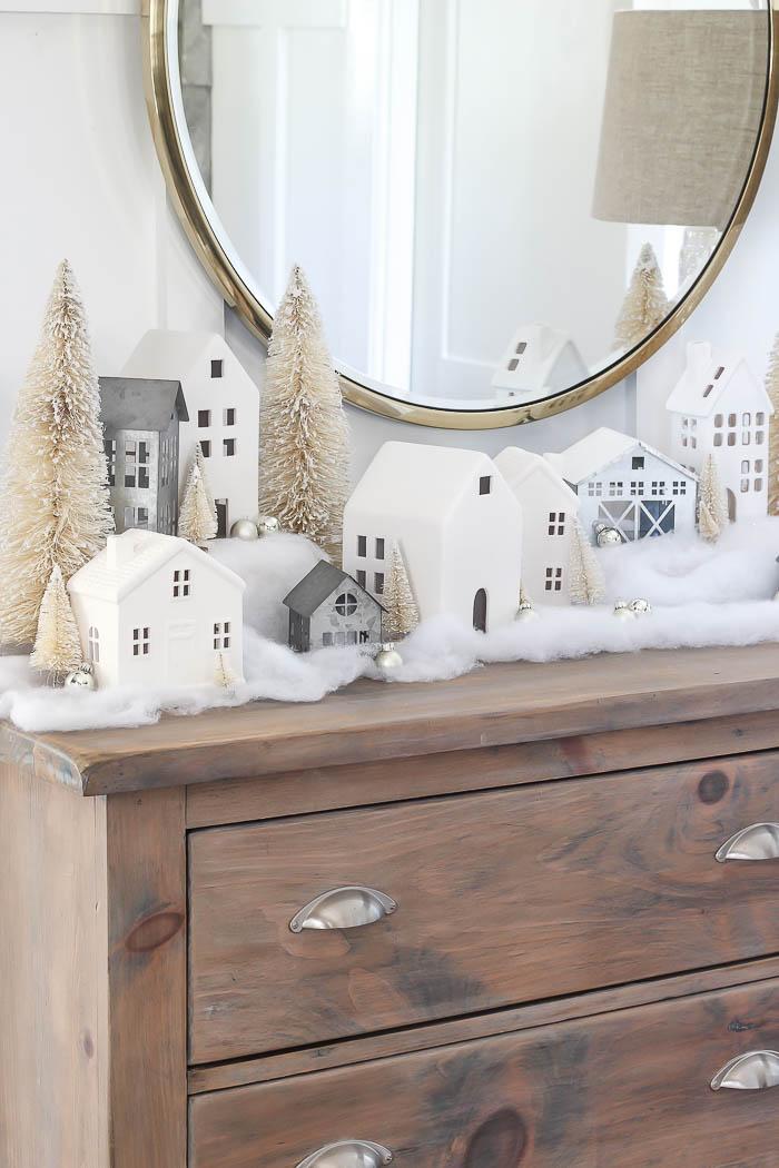 Christmas Mantel Decor Ideas - Christmas Village Mantel by Rooms for Rent