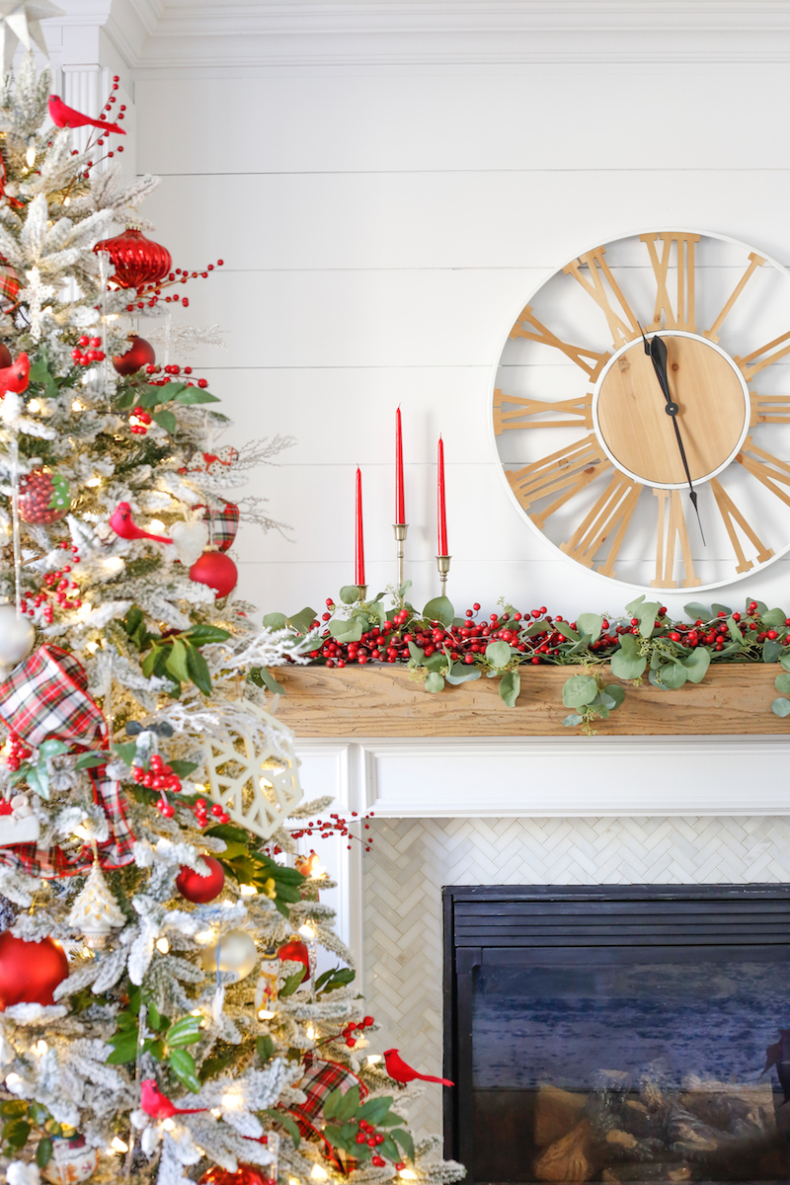 Christmas Mantel Decor Ideas - Cranberries and Cardinals Traditional Colors Family Room by Sand & Sisal