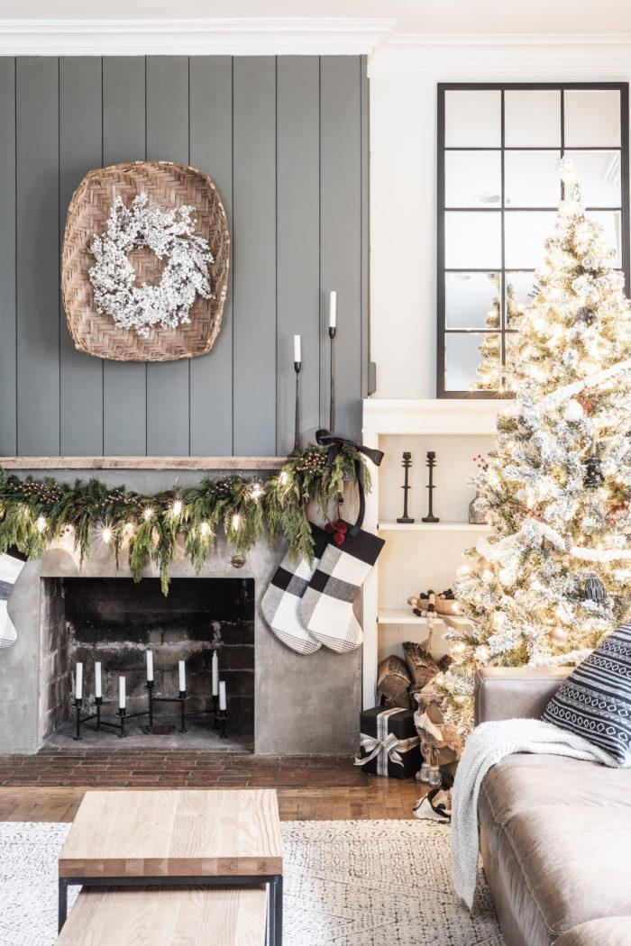 Christmas Mantel Decor Ideas - Modern Rustic Christmas Mantel with Fresh Garland by Cherished Bliss