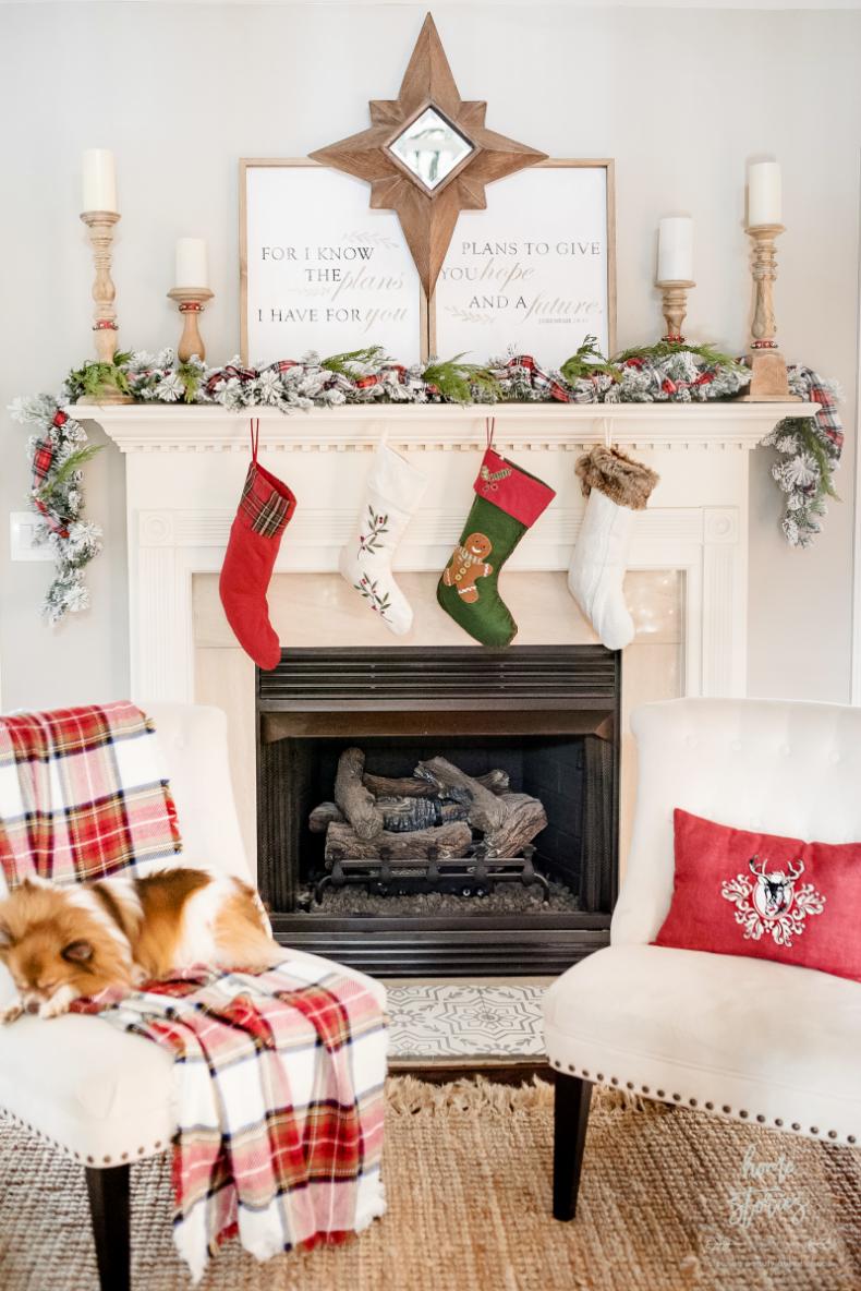 Christmas Mantel Decor Ideas - Red Plaid Christmas Home Tour by Home Stories A to Z