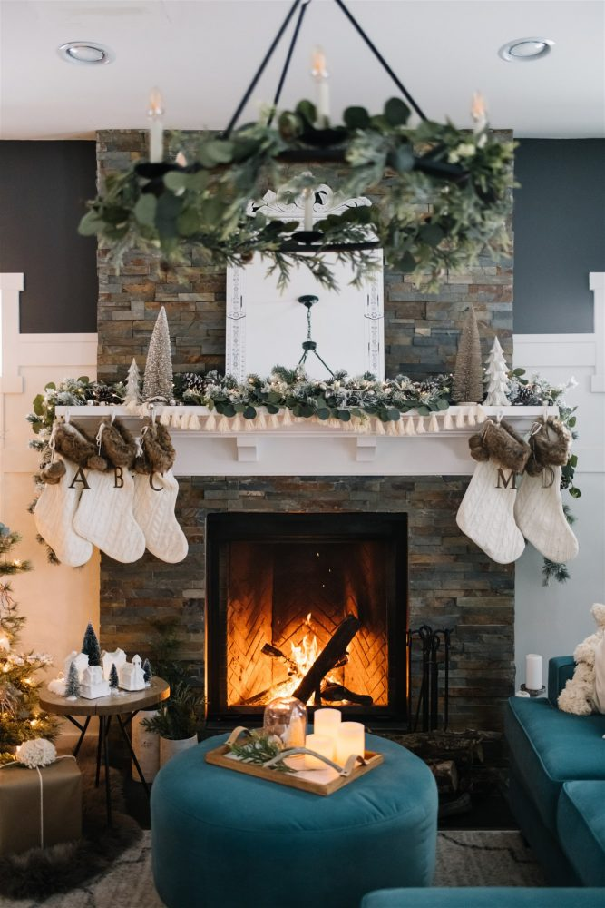Christmas Mantel Decor Ideas - Rustic Boho Christmas Mantel by DIY Mommy