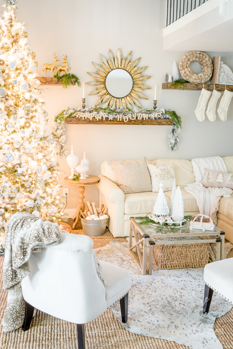 Christmas Mantel Decor Ideas - Rustic Glam Christmas Family Room by Home Stories A to Z
