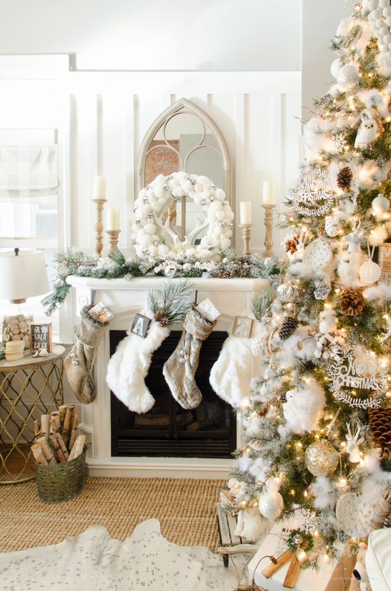 Christmas Mantel Decor Ideas - Rustic Glam Farmhouse Christmas by Home Stories A to Z