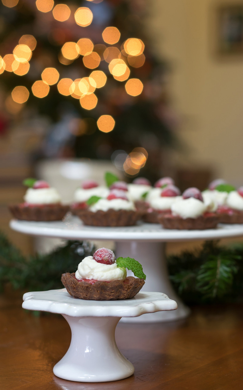 Cranberry Recipes - Chocolate Cranberry Tarts by Nourish and Nestle