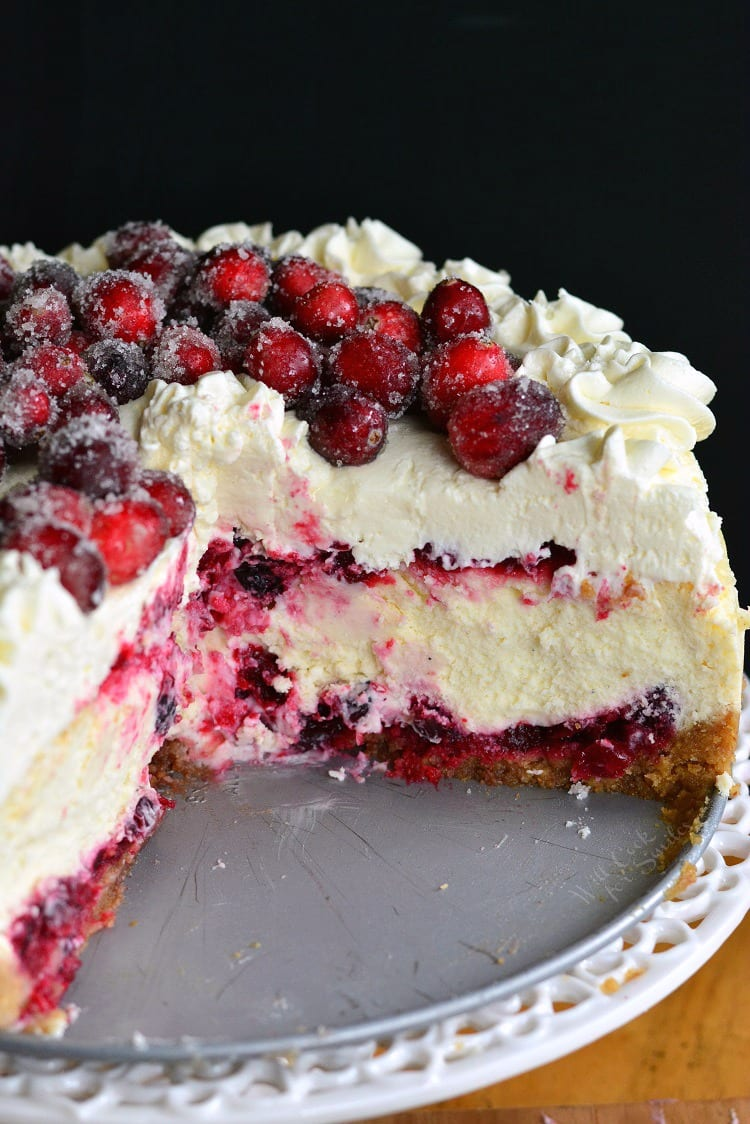 Cranberry Recipes - Christmas Cheesecake by Will Cook For Smiles