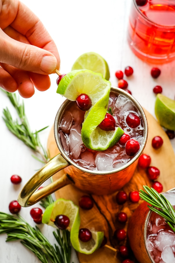Cranberry Recipes - Cranberry Moscow Mules by Delightful E Made