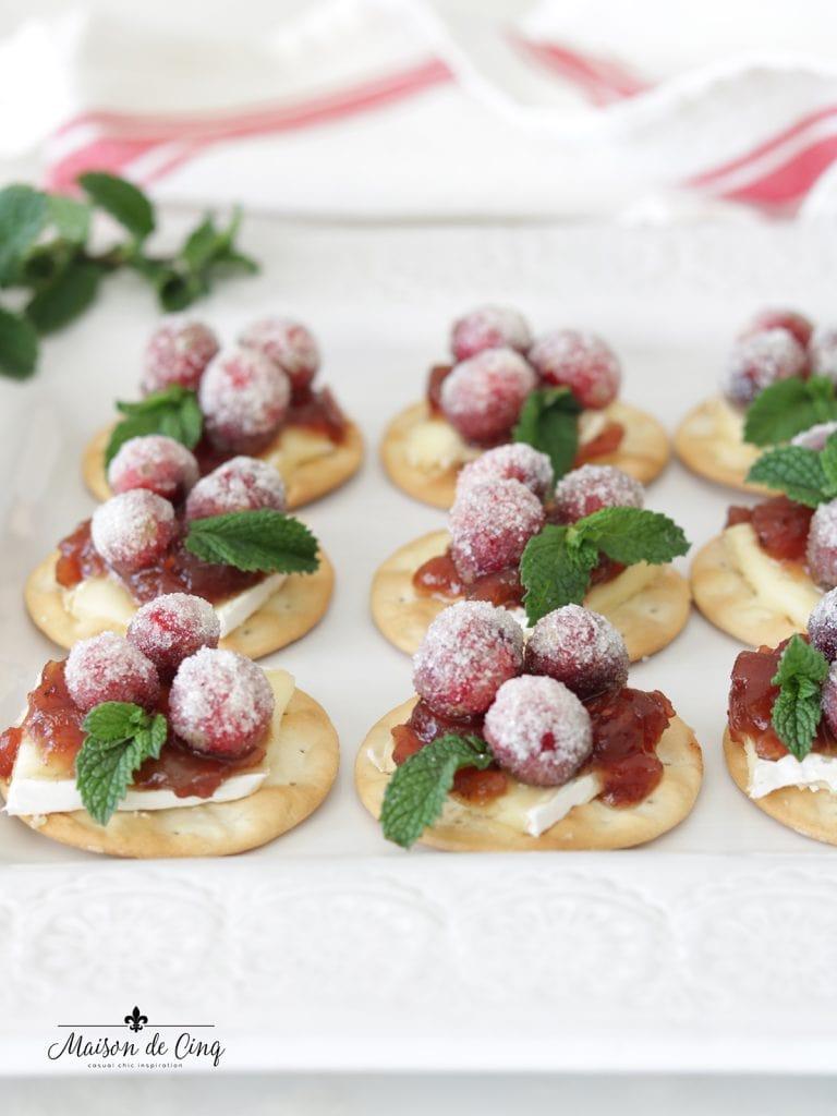 Cranberry Recipes - Sparkling Cranberry Brie Bites by Mason de Cinq