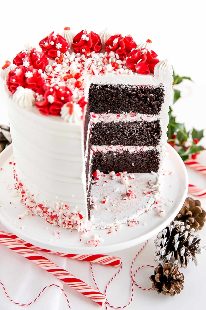 Elegant Christmas Desserts - Chocolate Peppermint Cake by Liv For Cake