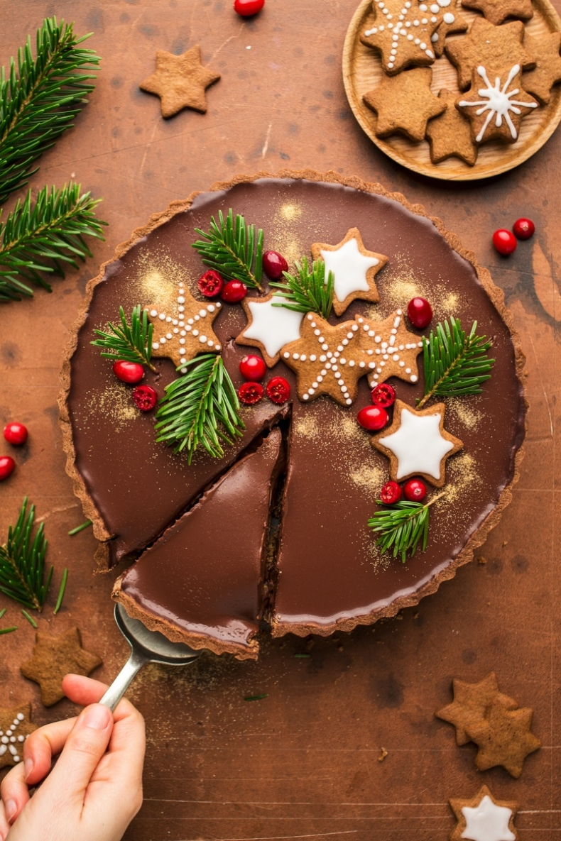 Elegant Christmas Desserts - Gingerbread Amaretto Chocolate Tart by The Lazy Cat Kitchen