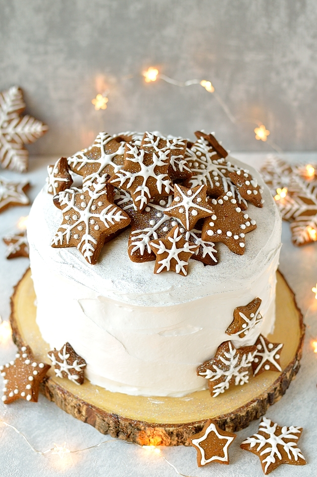 Elegant Christmas Desserts - Gingerbread Topped Christmas Cake by Domestic Gothess