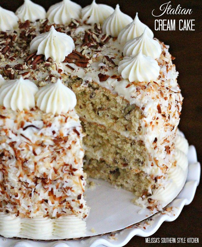 Elegant Christmas Desserts - Italian Cream Cake by Melissa's Southern Style Kitchen