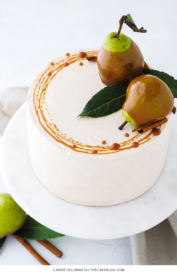 Elegant Christmas Desserts - Salted Caramel Pear Cake by The Cake Blog