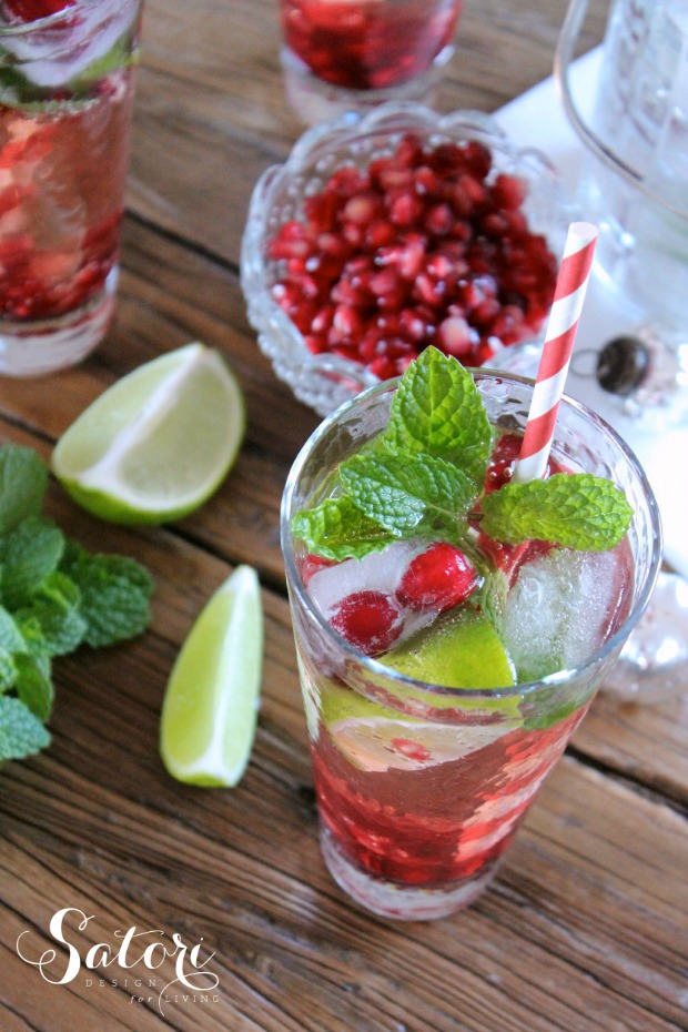 Holiday Drink Recipe - Festive Pomegrante Mojitos by Satori Design