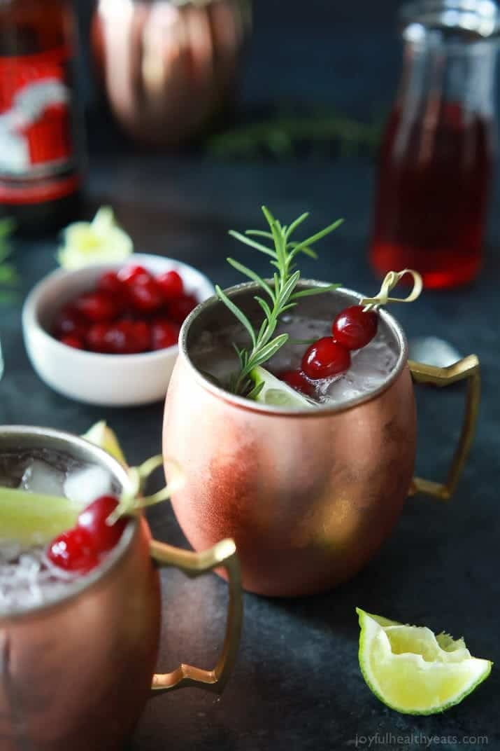 Holiday Drink Recipes - Cranberry Moscow Mule by Joyful Healthy Eats