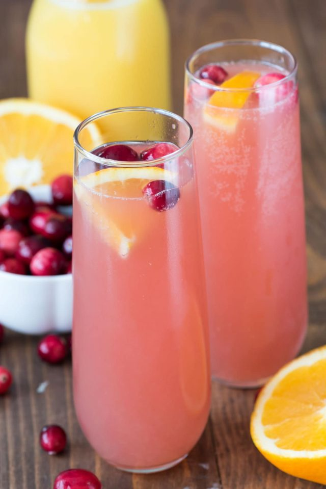 Holiday Drink Recipes - Cranberry Orange Mimosa Bellini by Crazy for Crust