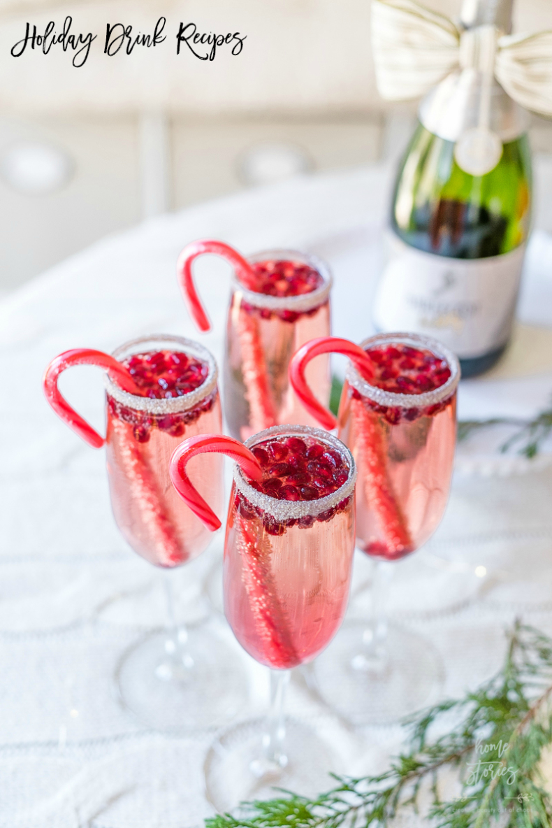 Holiday Drink Recipes - Pomegranate Champagne Cocktail by Home Stories A to Z