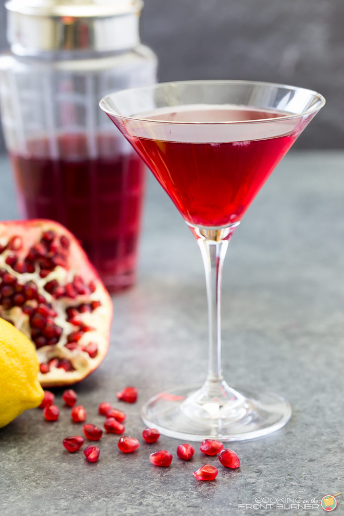 Holiday Drink Recipes - Pomegranate Martini Cocktail by Cooking on the Front Burners