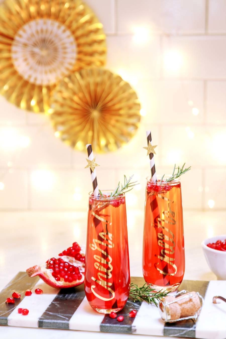 Holiday Drink Recipes - Pomegrante Champagne Cocktail by Modern Glam