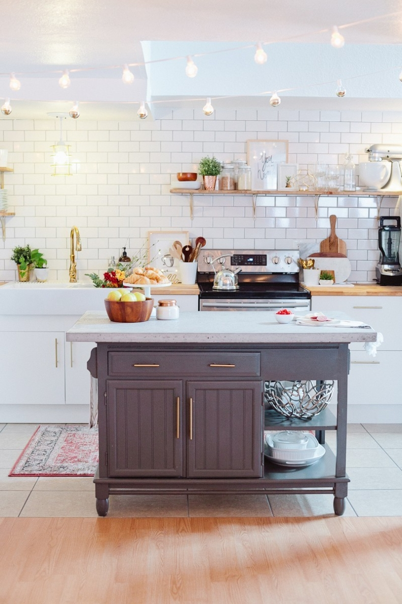 Neutral Paint Colors for Your Kitchen Island - Blue Island by Fresh Mommy Blog