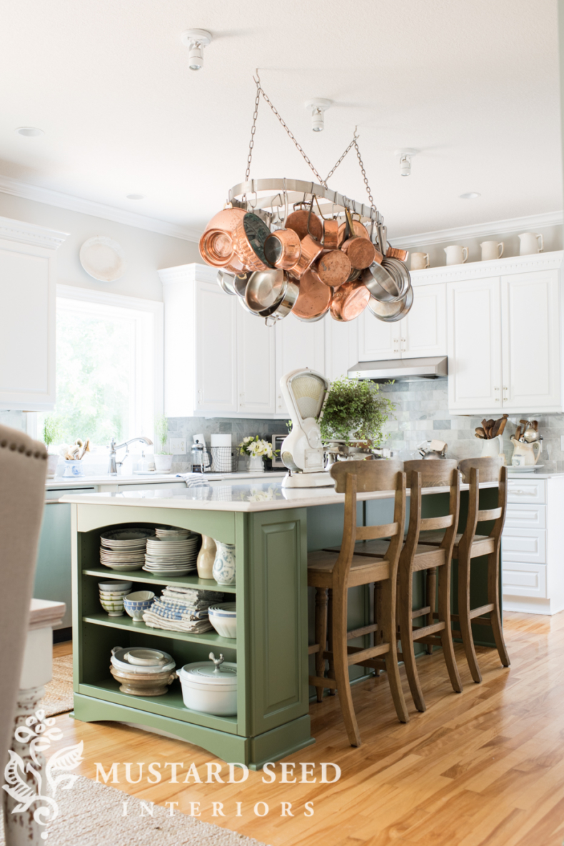 MMS Boxwood Paint Color Neutral Paint Colors for Your Kitchen Island - Boxwood by Miss Mustard Seed