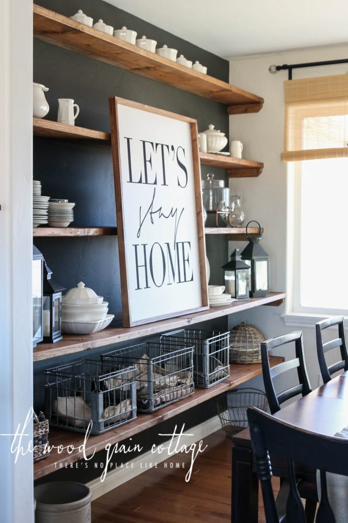 Accent Wall Ideas - Dining Room Shelves Accent Wall by The Wood Grain Cottage