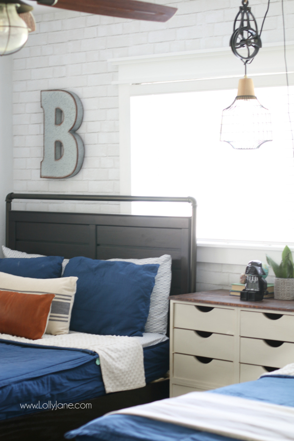 Accent Wall Ideas- Faux Brick Wallpaper by Lolly Jane
