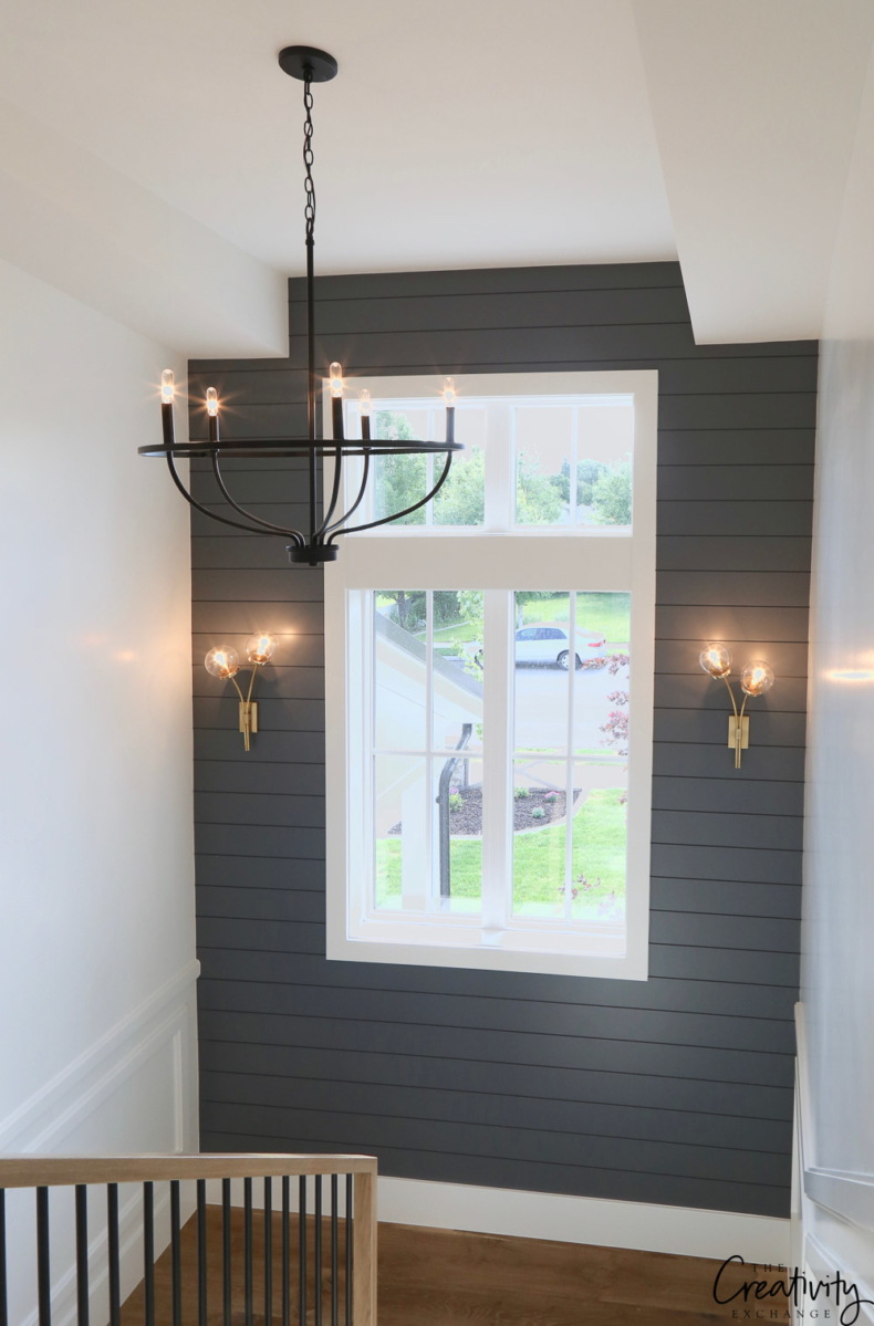 Accent Wall Ideas - Stairwell Shiplap Wall by The Creativity Exchange
