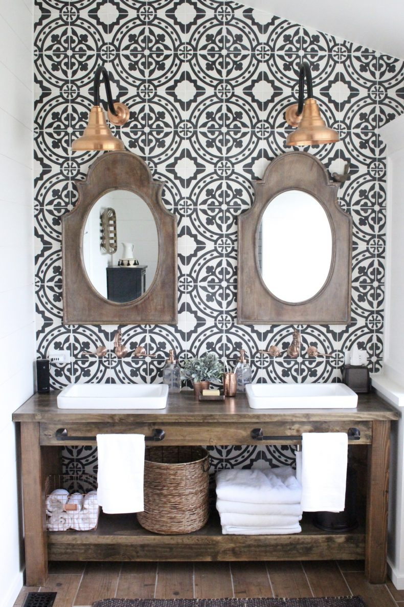 Accent Wall Ideas - Tiled Bathroom Wall by White Cottage Home & Living