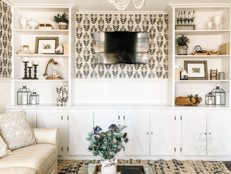Accent Wall Ideas - Wainscoting and Wallpaper Accent Wall by Home Stories A to Z