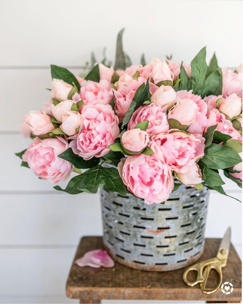 Early Spring Decorating Tips - Bucket of Peonies by Home Stories A to Z