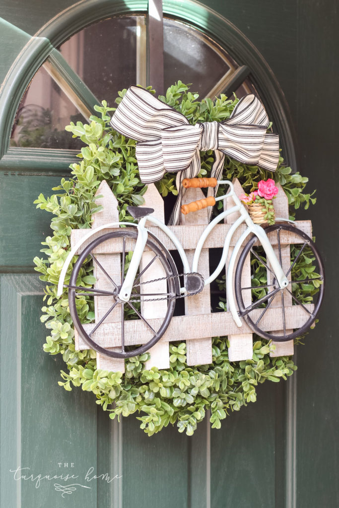 Early Spring Decorating Tips - DIY Boxwood Bicycle Wreath by The Turquoise Home