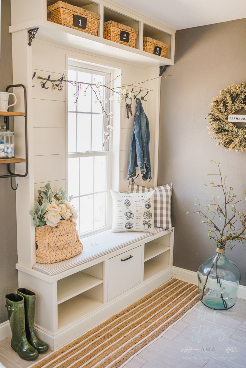 Early Spring Decorating Tips - Spring Mudroom by Home Stories A to Z