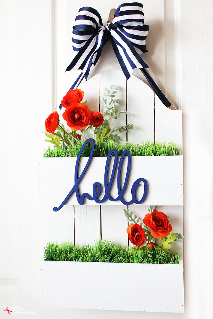 Spring Wreath Ideas - DIY Flowerbox Door Hanger by Positively Splendid