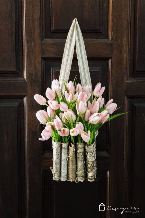 Spring Wreath Ideas - DIY Tulip Birch Basket Wreath by Kaledioscope Living
