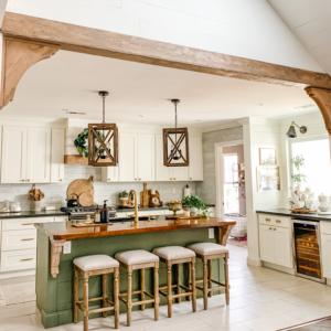 diy faux kitchen beam divider tutorial