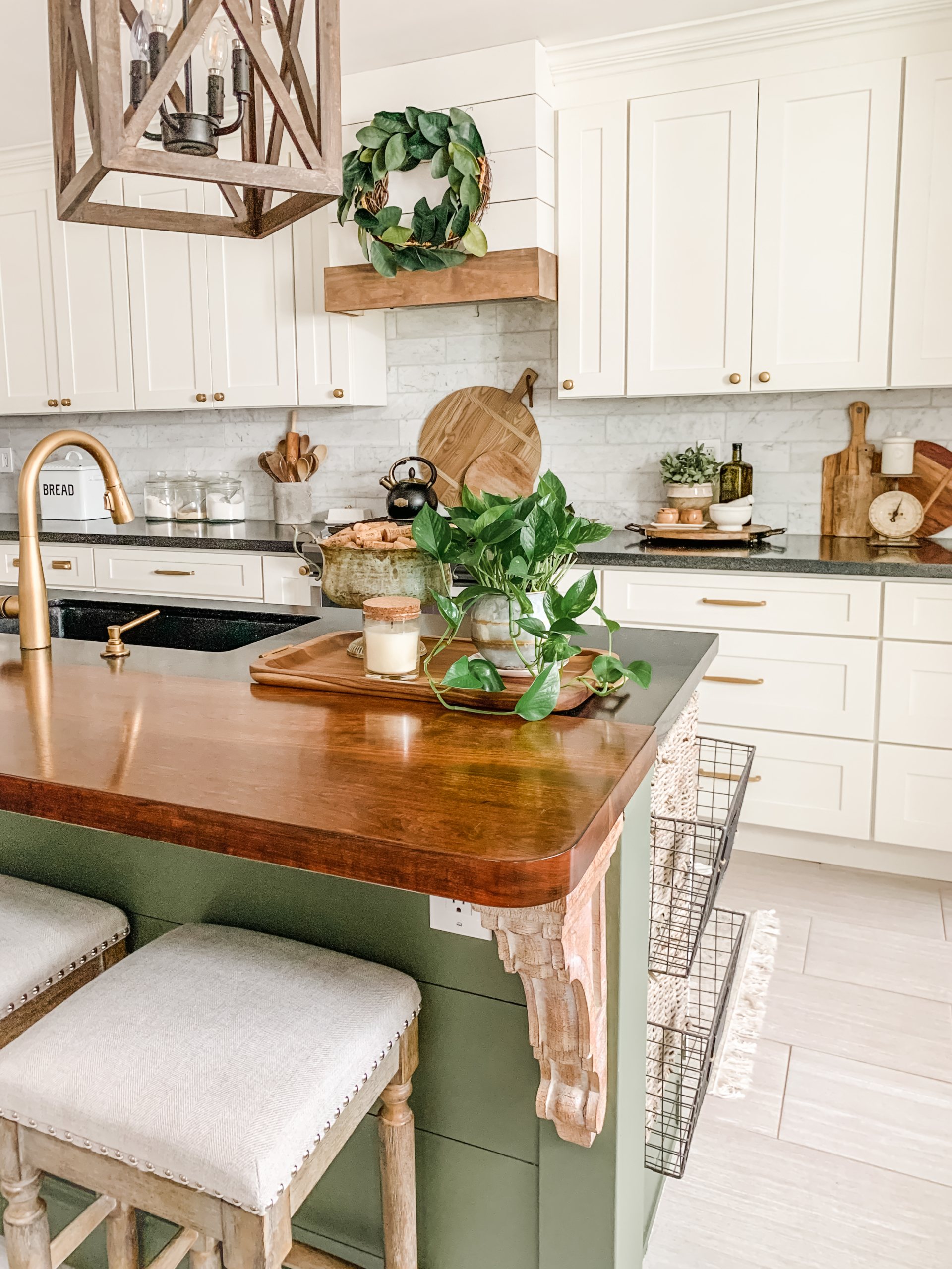 tray styled in kitchen