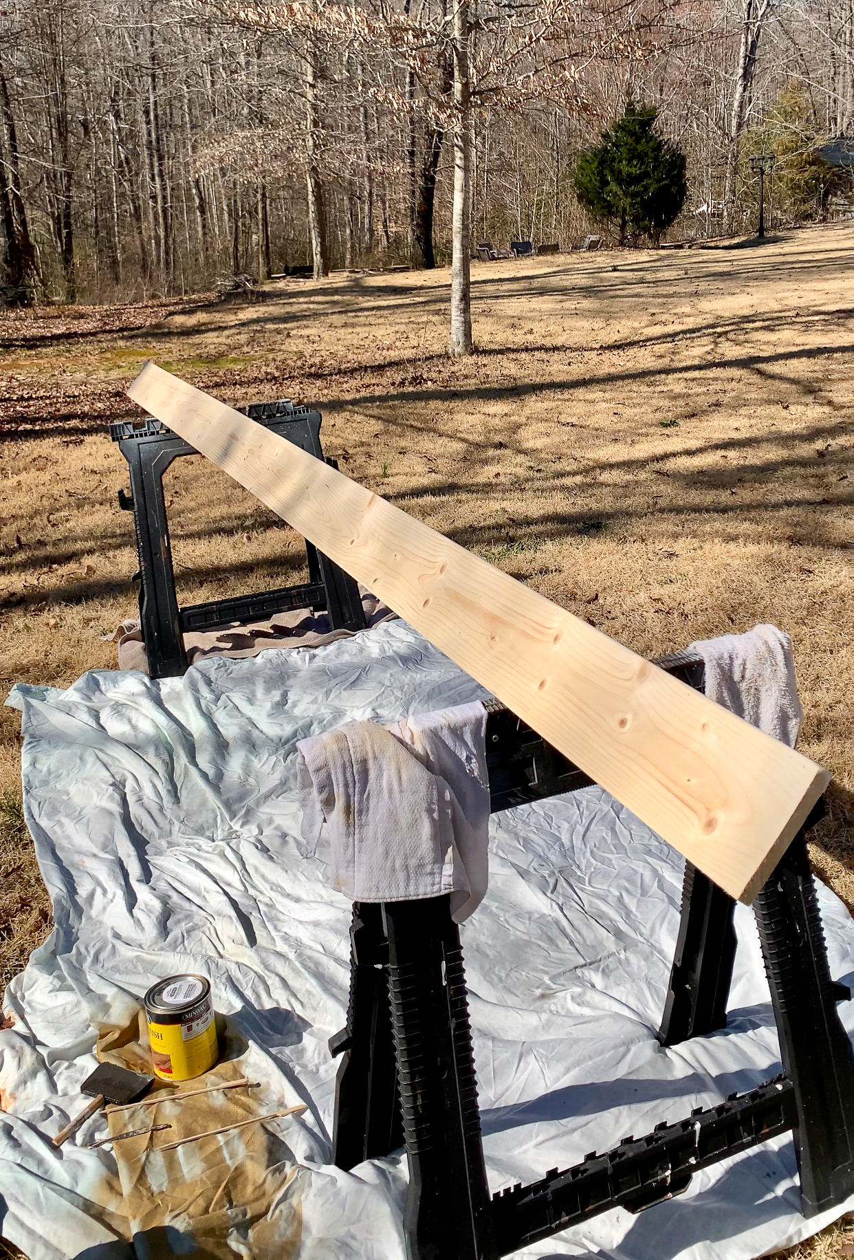 two-sided wood beam to be stained