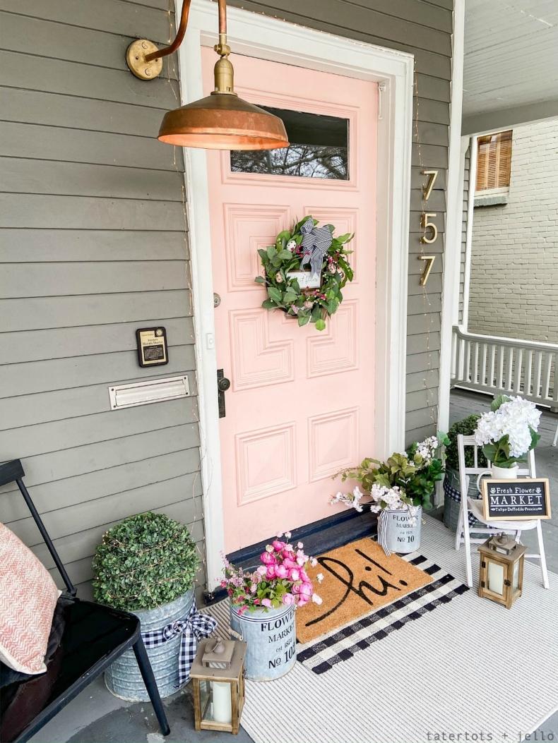 Spring Porch and Patio Ideas - Farmhouse Porch by Tatertots & Jello