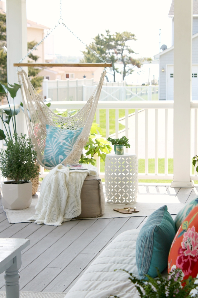 Spring Porch and Patio Ideas - Hanging Chair Porch Decor by City Farmhouse