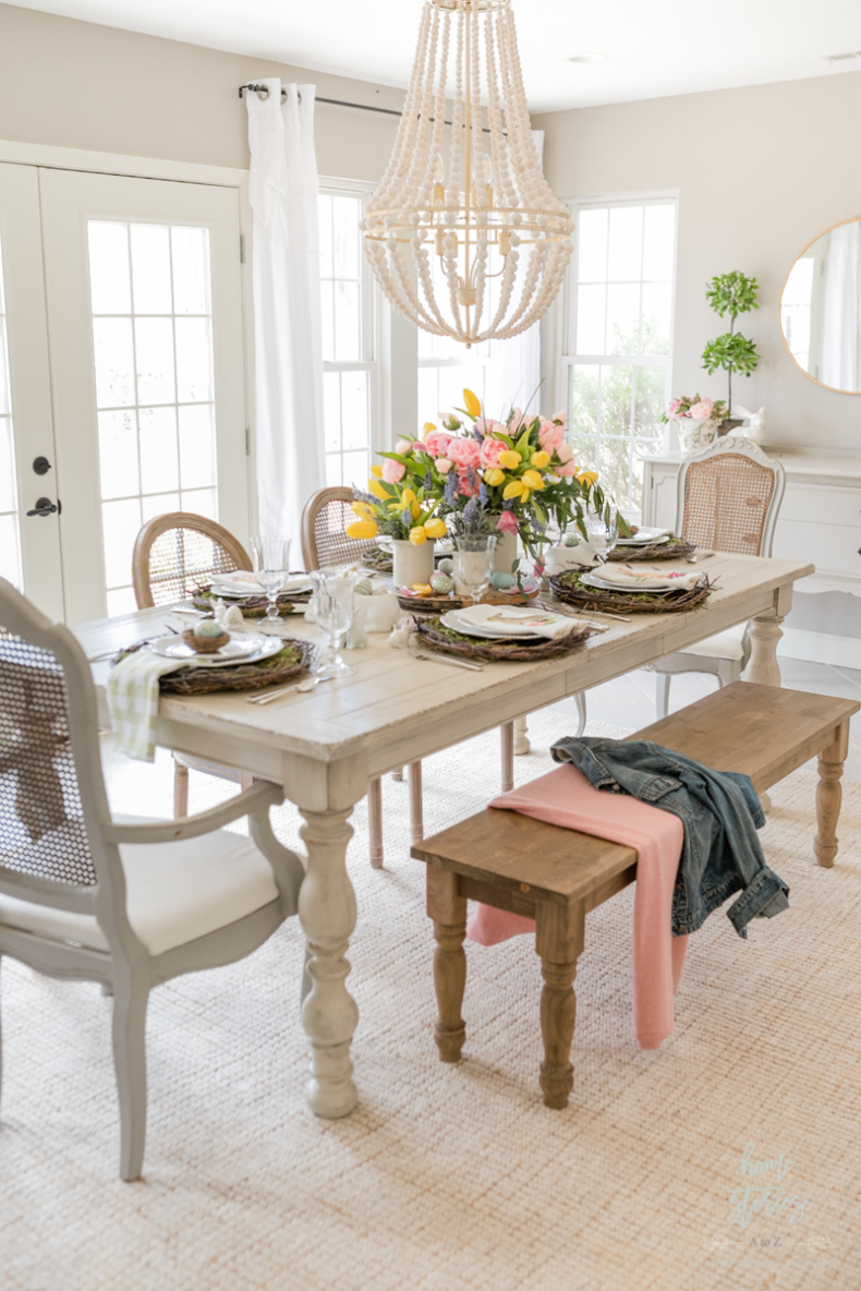 Spring Tablescape Tips - Easter Bunny Spring Tablescape by Home Stories A to Z