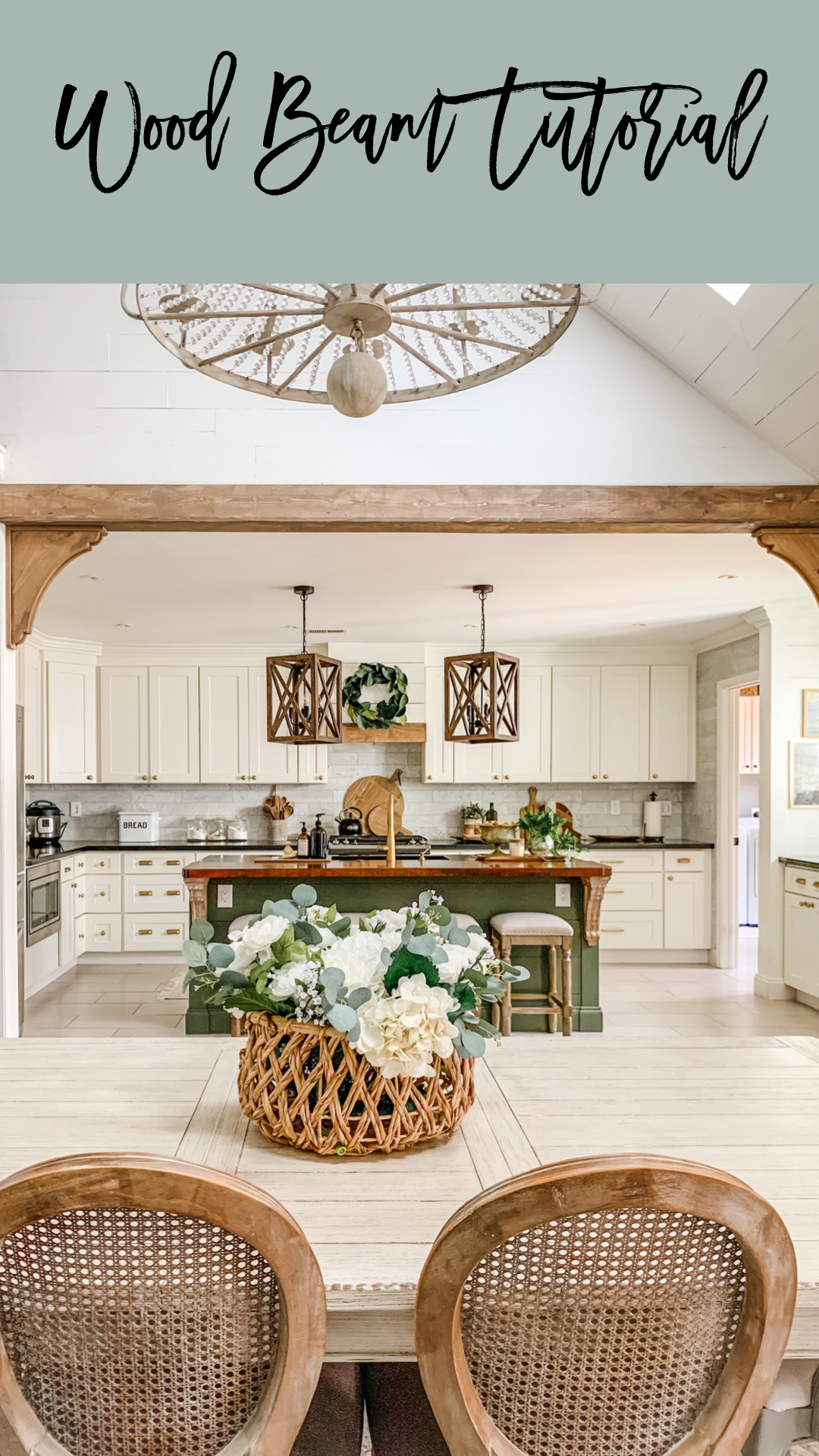 stained wood beam in kitchen