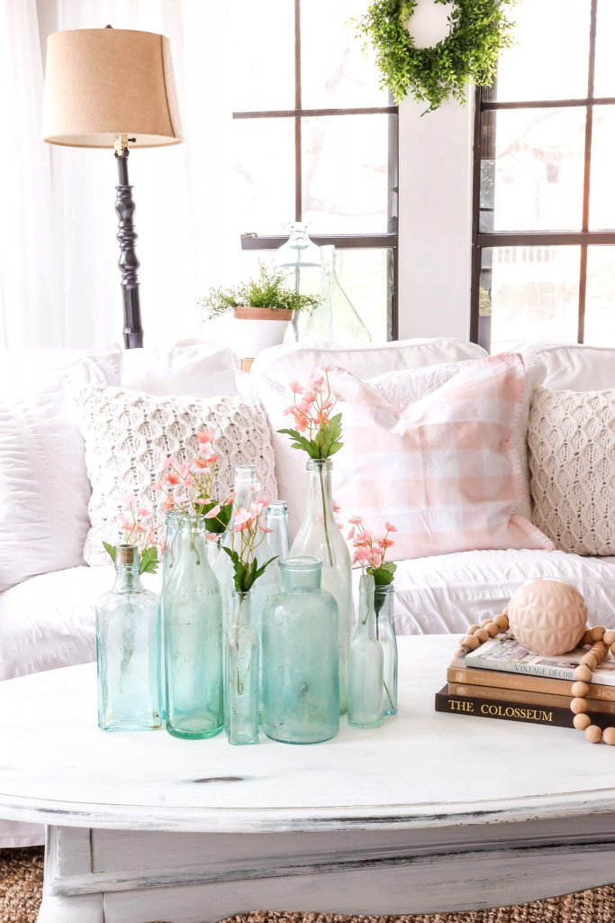 Spring Decor Ideas - Blue and Blush Spring Living Room by Noting Grace