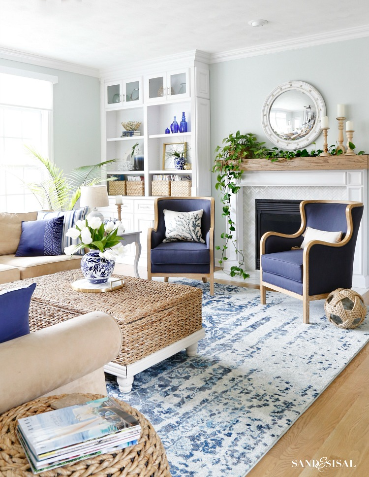 Spring Decor Ideas - Blue and White Spring Living Room by Sand & Sisal